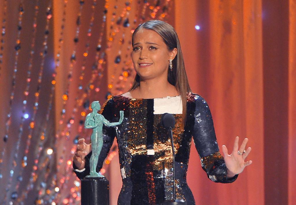 . Alicia Vikander accepts the award for outstanding female actor in a supporting role for ìThe Danish Girlî at the 22nd annual Screen Actors Guild Awards at the Shrine Auditorium & Expo Hall on Saturday, Jan. 30, 2016, in Los Angeles. (Photo by Vince Bucci/Invision/AP)