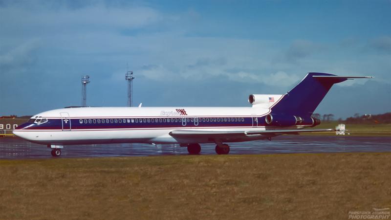 N293AS. Boeing 727-212/Adv. Express One. Prestwick. March. 1994.