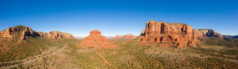 Aerial panorama of Bell Rock and Courthouse Butte in Sedona, Arizona