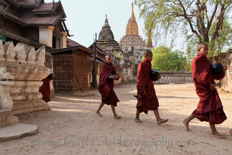 "Young Monks Marching in front of the Ananda Temple in Bagan. 16"" x 11""."