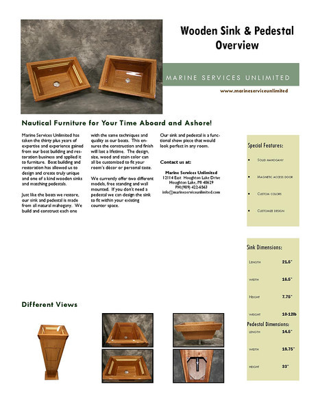 Wooden Sink & Pedestal Overview
