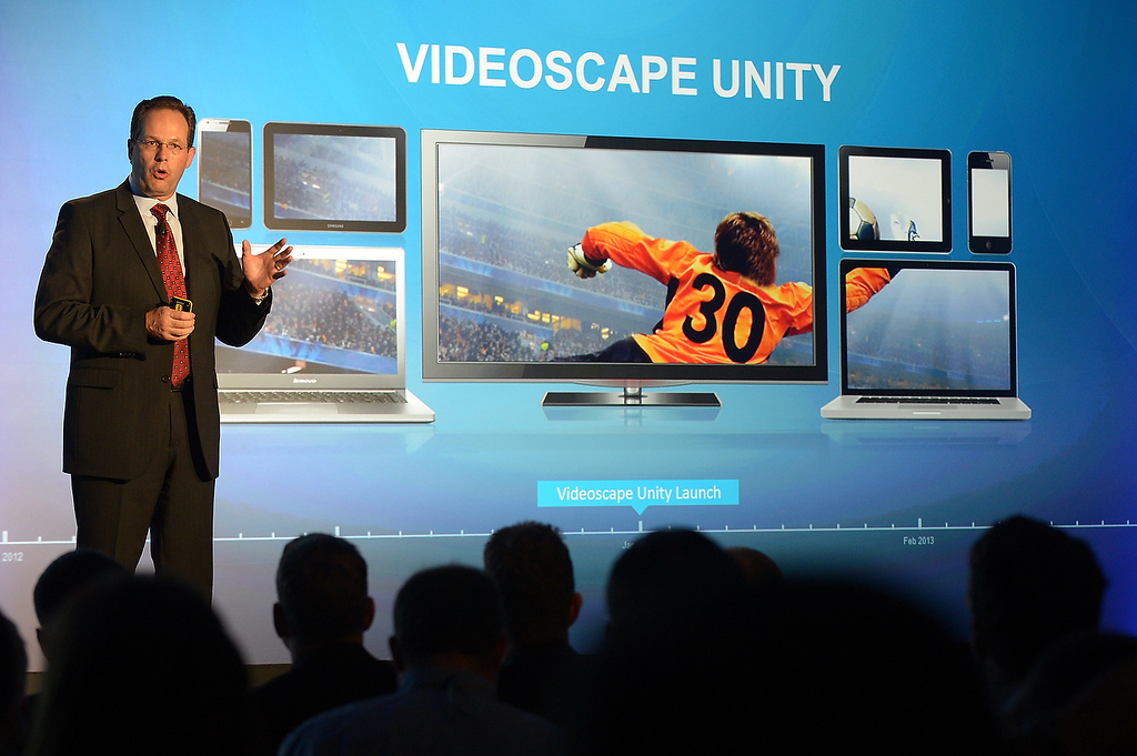 . Marthin DeBeer, senior vice-president for video and collaboration group, introduces Videoscape Unity at the 2013 International Consumer Electronics Show in Las Vegas on January 7, 2013. (JOE KLAMAR/AFP/Getty Images)