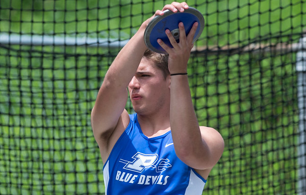 06/12/19 Wesley Bunnell | Staff Plainville's John Siani competes in the decathlon discus throw at Manchester High School on June 12, 2019.