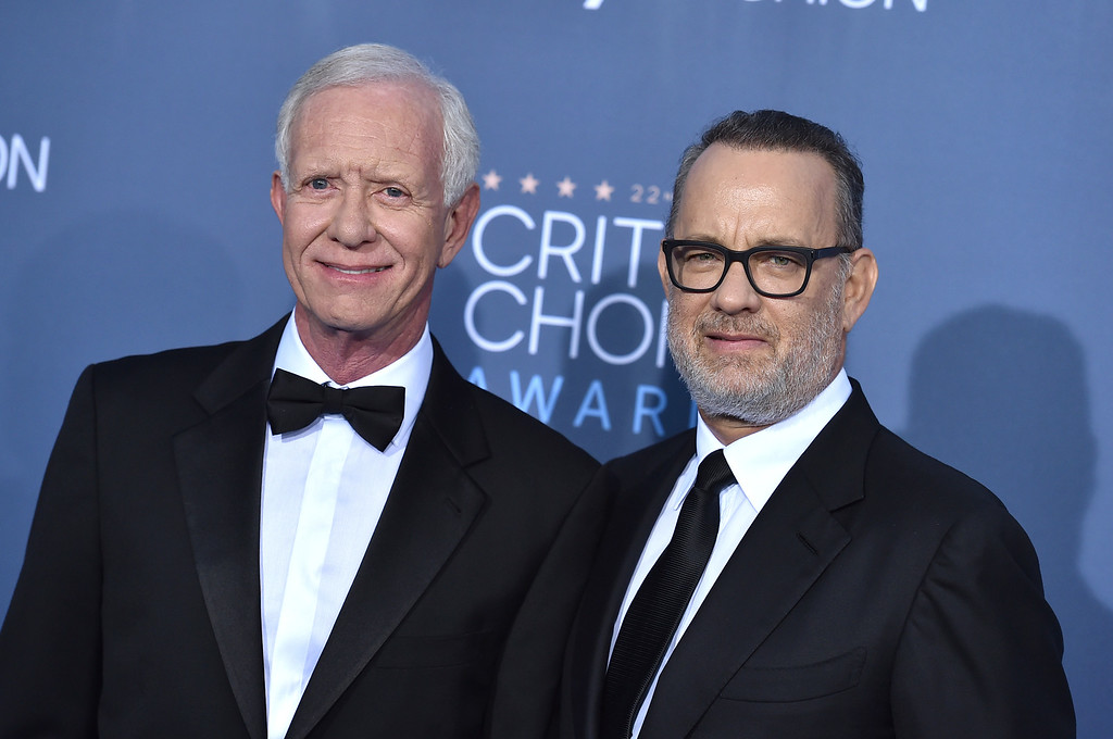 . Tom Hanks, right, and Chesley Sullenberger arrive at the 22nd annual Critics\' Choice Awards at the Barker Hangar on Sunday, Dec. 11, 2016, in Santa Monica, Calif. (Photo by Jordan Strauss/Invision/AP)
