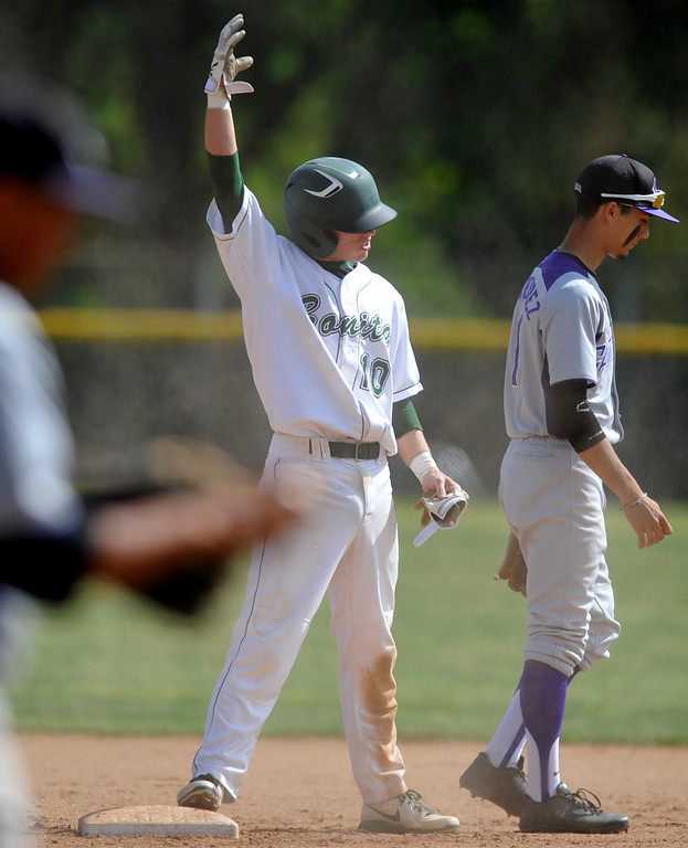 . Bonita\'s Justin Row (#10) reacts after hitting a double as they play Cathedral in their CIF playoff game at Bonita High School in La Verne on Thursday May 16, 2013. Cathedral beat Bonita 3-1. (SGVN/Staff Photo by Keith Durflinger)