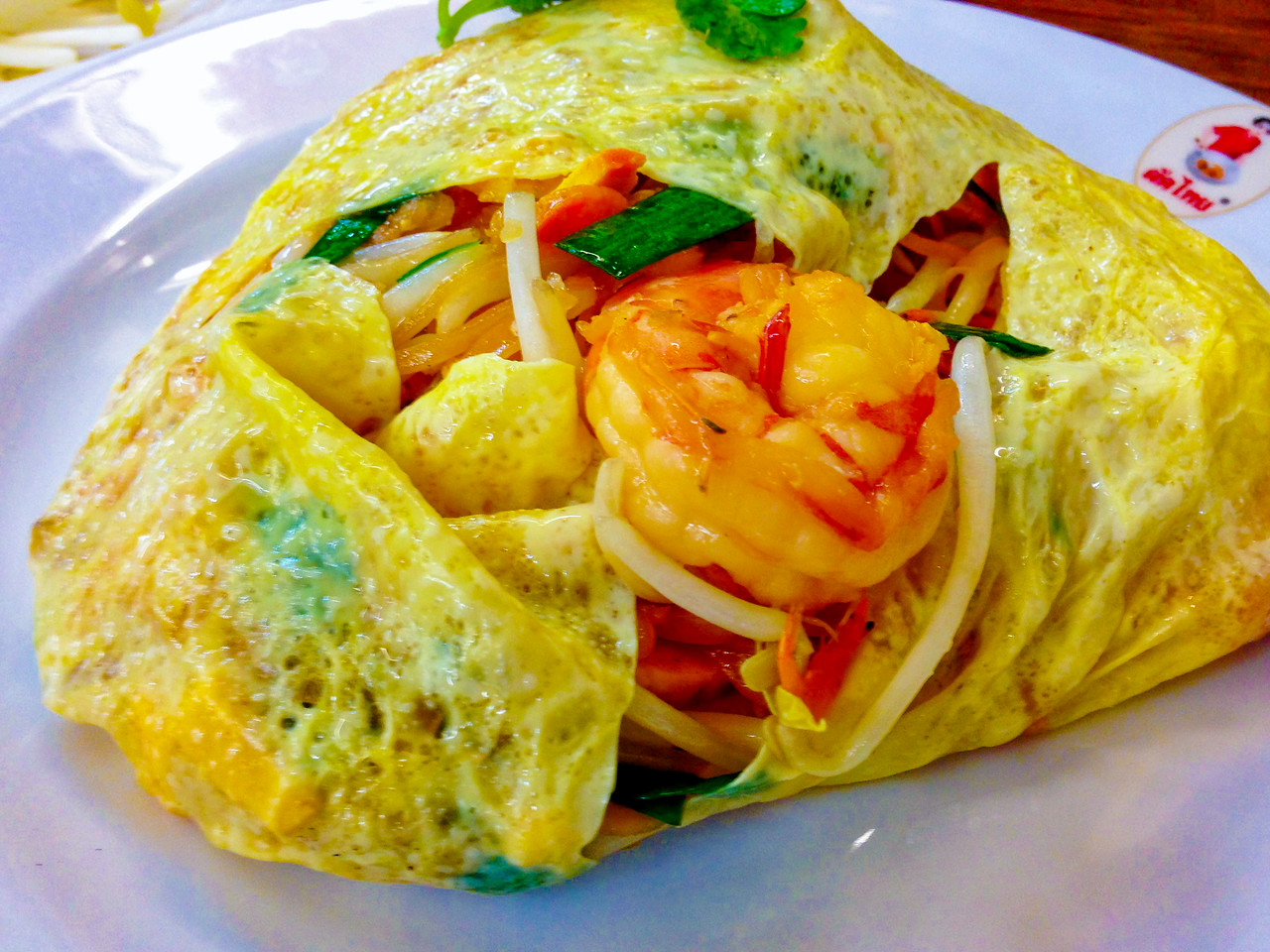 Pad Thai Wrapped in an Egg Parcel from Thip Samani in Bangkok