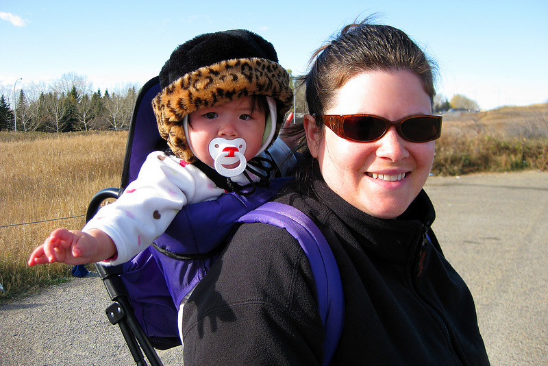 Julia and Darcie on a hike at Nose Hill Park.  Julia is 231 days old; that's 33 weeks old which is 7.7 months old or .63 years old.
