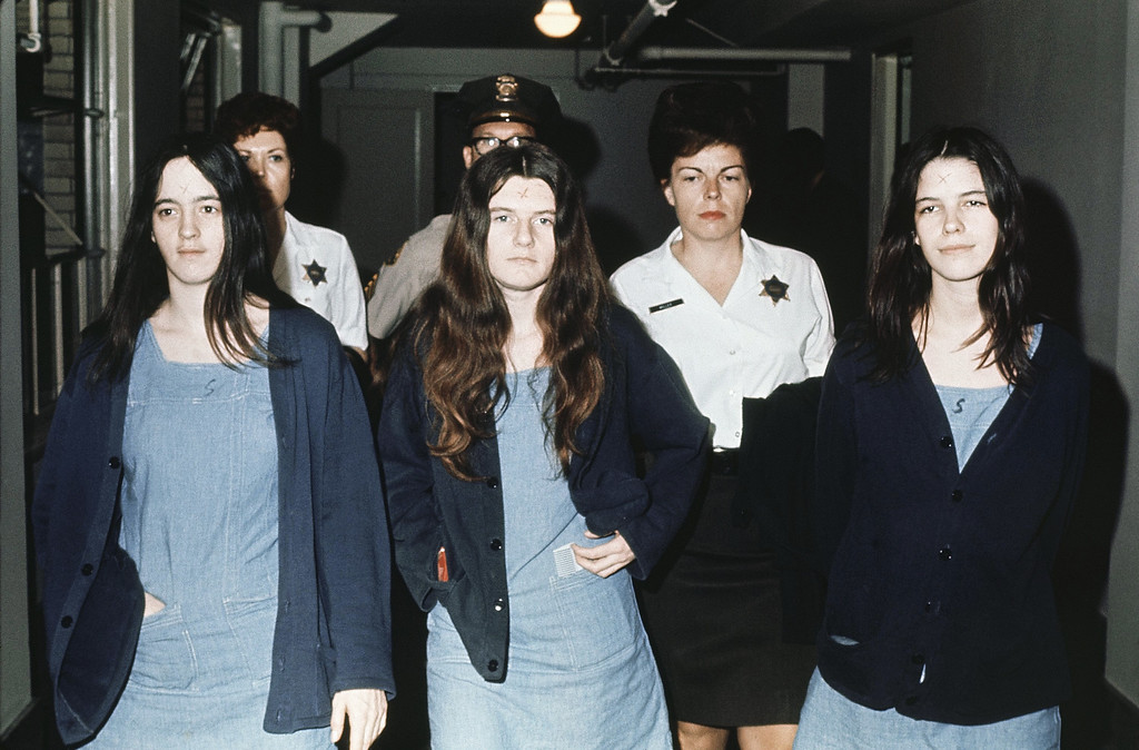 . Three female defendants in the Manson court case are shown, from left to right: Susan Atkins, Patricia Krenwinkel, Leslie Van Houten, March 29 , 1971 as they return to court to hear the penalty ending a nine-month trial in the Tate-LaBianca murders of August 1969.  All three, plus Charles Manson, were decreed the death sentence in the gas chamber. (AP Photo)