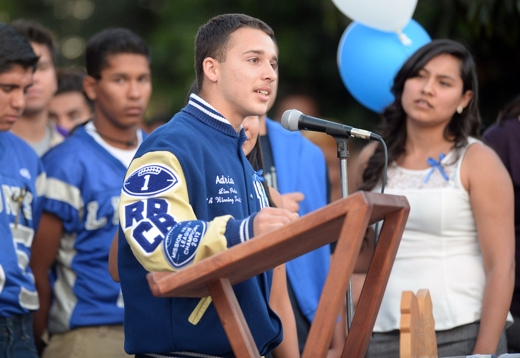 . Roman Castro, 16, speaks about his brother, Adrian Castro, 19, during a memorial gathering at El Monte High School Monday evening April 14, 2014. Castro was one of nine students killed in the bus crash in Orland, Calif. (Staff Photo by Keith Durflinger/San Gabriel Valley Tribune)