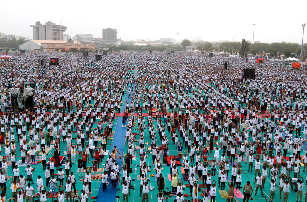 . Indians perform Yoga during International Yoga Day celebrations in Ahmadabad, India, Wednesday, June 21, 2017. Millions of yoga enthusiasts across India take part in a mass yoga sessions to mark the third International Yoga Day which falls on June 21 every year. (AP Photo/Ajit Solanki)