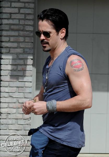 "Colin Farrell Shows Off His ""Guns"" And Mum Tribute Heart Tattoo in Malibu, CA"