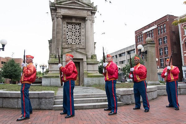 09/11/18 Wesley Bunnell | Staff New Britain unveiled its newest monument in Central Park which is dedicated to the War on Terror following the 9/11 attacks. The Marine Corps League with a rifle salute.