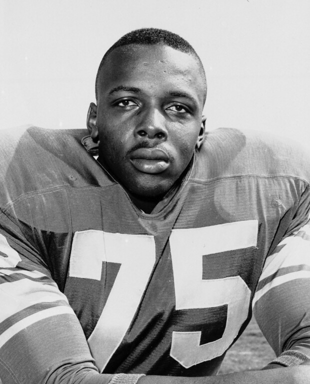 ". This 1963 file photo shows David ""Deacon\"" Jones. Jones, a Hall of Fame American football defensive end credited with terming the word \""sack\"" for how he knocked down quarterbacks, died June 3, 2013. He was 74. (AP Photo/File)"