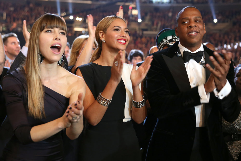 Description of . (L-R) Actress Jessica Biel, singer Beyonce and rapper Jay-Z attend the 55th Annual GRAMMY Awards at STAPLES Center on February 10, 2013 in Los Angeles, California.  (Photo by Christopher Polk/Getty Images for NARAS)