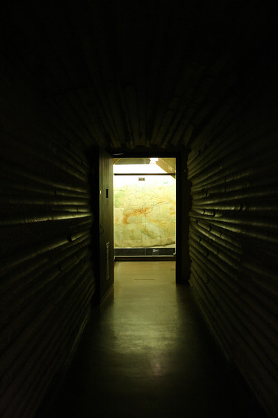 This long tunnel was excavated out of concrete laid to protect against bomb blasts.  At the end of the tunnel is the map room.