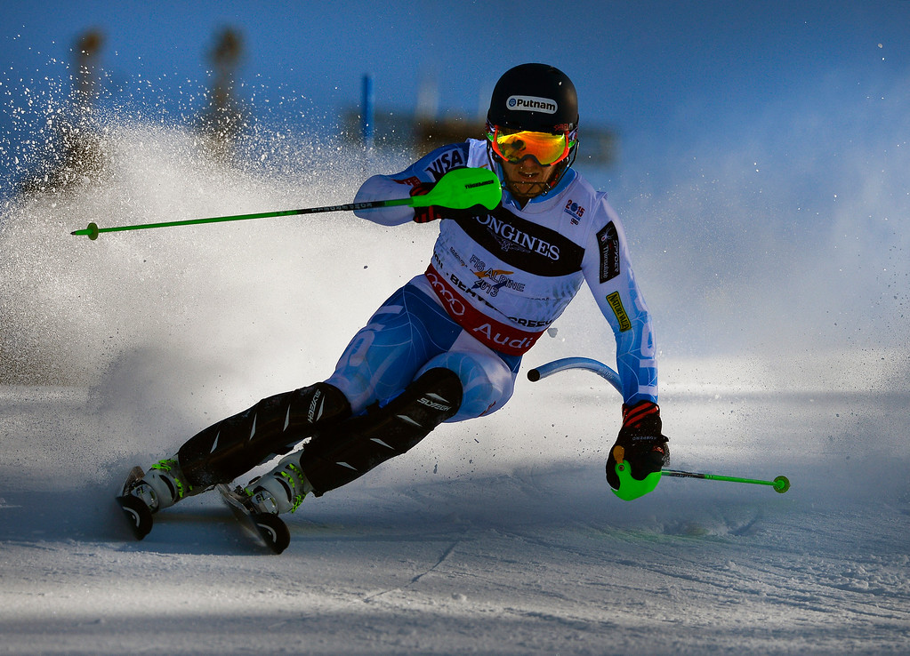 . BEAVER CREEK, CO - FEBRUARY 8: Ted Ligety of the United States runs the course at the Men\'s slalom portion of the Men\'s alpine combined race at the FIS Alpine World Ski Championships in Beaver, CO. February 8, 2015. Ligety came in 3rd in the Men\'s combined race. (Photo By Helen H. Richardson/The Denver Post)