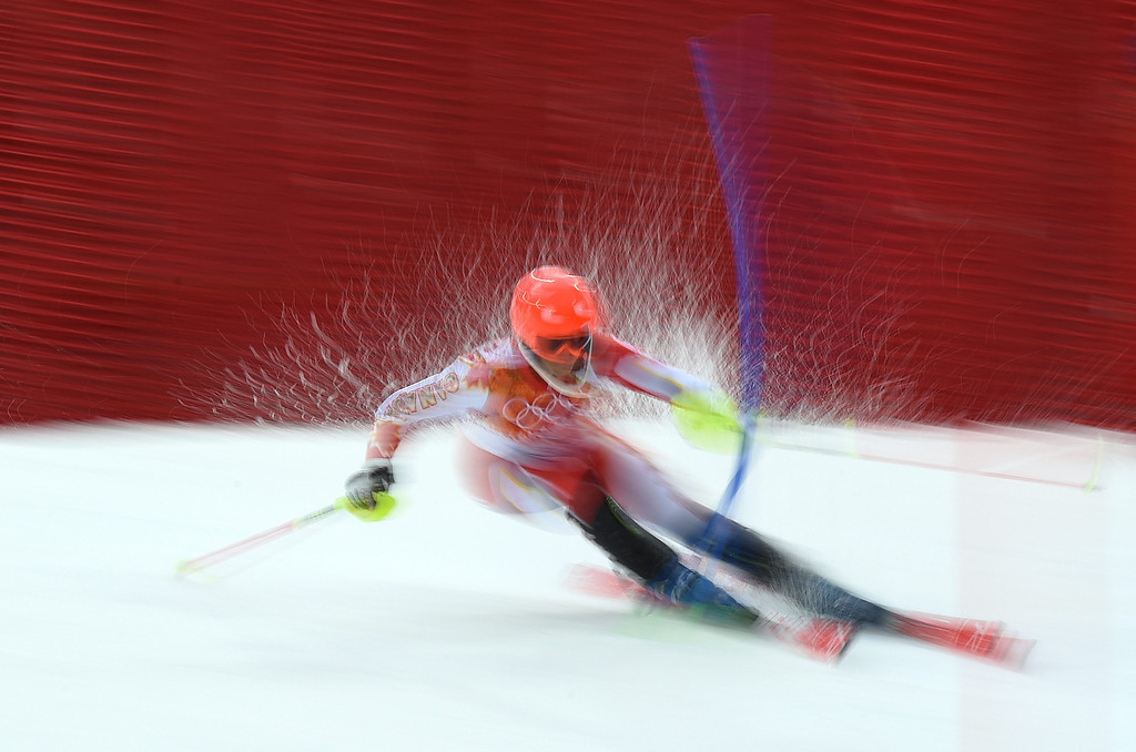 . Marie-Michele Gagnon of Canada in action during the first run of the Women\'s Slalom race at the Rosa Khutor Alpine Center during the Sochi 2014 Olympic Games, Krasnaya Polyana, Russia, 21February 2014.  EPA/JUSTIN LANE