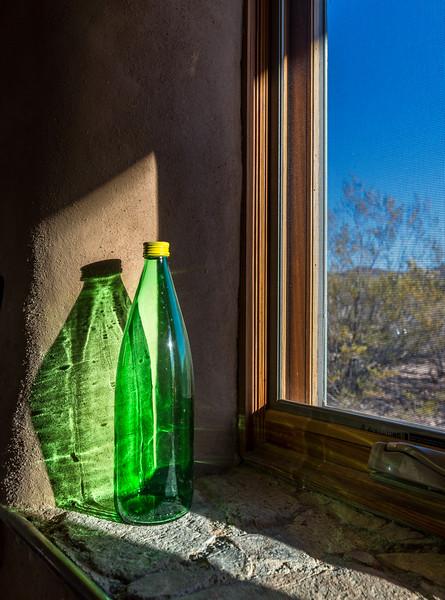 Green Bottle and Kitchen Window #1