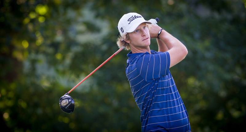Jace Long of Dixon MO. watches his tee ball off 16. Long shot a 4 under 68 during first round medal play at the 2012 Western Amateur Championship at Exmoor Country Club in Highland Park IL. on Tuesday, July 31, 2012. (WGA Photo/Charles Cherney)