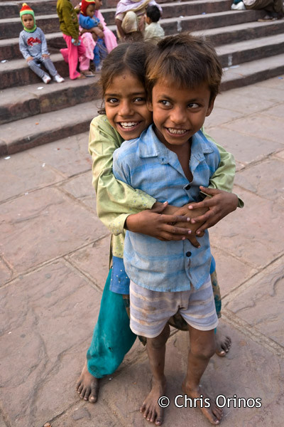 Cheerful kids in Old Delhi.
