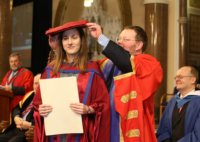 Pictured is Niamh Owens, Waterford who was conferred a Doctor of Philosophy from Dr. Derek O'Byrne, Registrar of Waterford Institute of Technology (WIT). Picture: Patrick Browne.