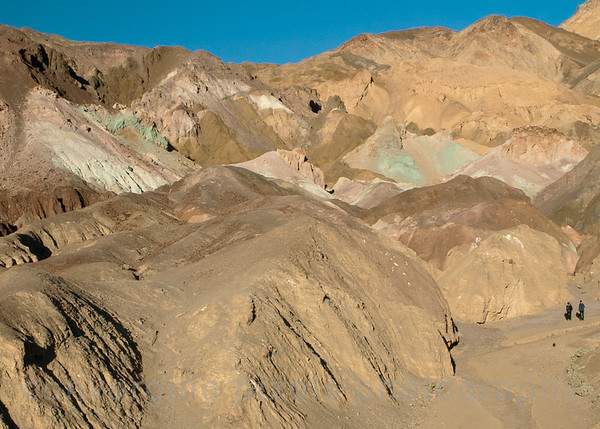 Artist's Palette:  multi-hued volcanic and sedimentary hills.  Death Valley