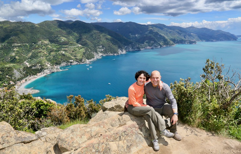 View from atop the highest point of Monterosso, Italy