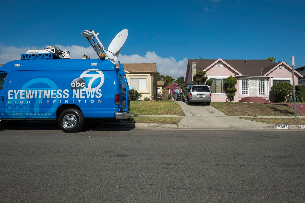 . A media van parks in front of actor Michael Jace\'s home on May 20, 2014 in Los Angeles, California. The actor has been arrested for the murder of his wife .  (Photo by Valerie Macon/Getty Images)