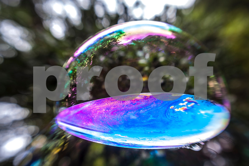 colorful field between 2 soap bubbles