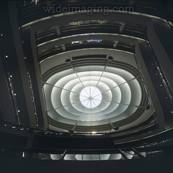 Spiral escalator at the San Francisco Centre indoor mall at Market and 5th, February 1992.
