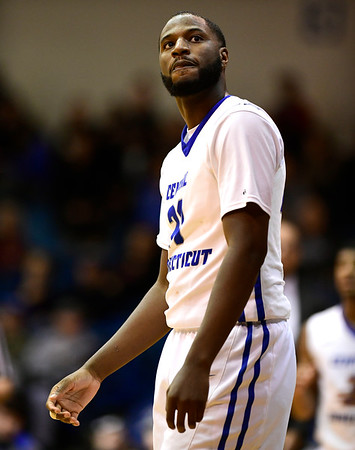 1/19/2019 Mike Orazzi | Staff CCSU's Joe Hugley (21) during Saturday's Men's basketball game with Saint Francis University in New Britain.