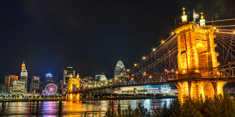 Cincinnati and the John A Roebling Suspension Bridge