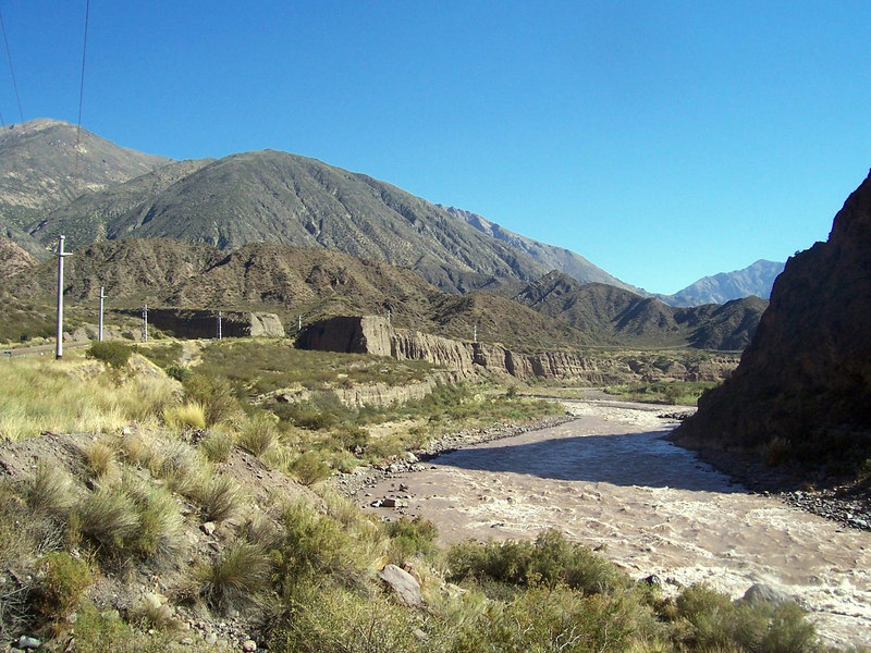 The Mendoza river.  Rafting is a popular sport, although the river is quite muddy.