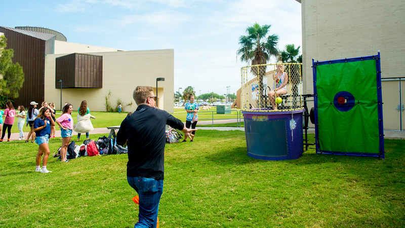 Students of Tri Delta club particpate in the Dunk Tank game to funding for St. Jude hospital