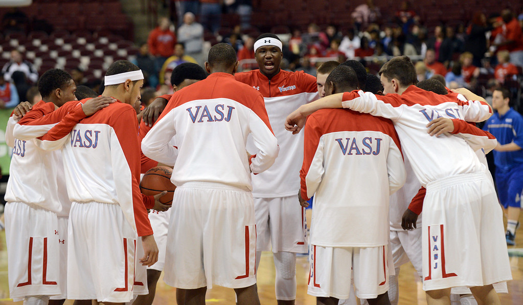 . Duncan Scott/DScott@News-Herald.com VASJ Vikings come together at midcourt while warming up for their DIII state semifinal against Columbus Bishop Ready.