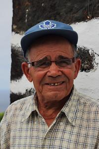Luis da Silva Matos (Capelo, Faial), born 1928, pictured outside his family's home on Faial. July 27, 2012.