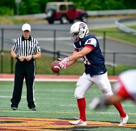6/29/2019 Mike Orazzi | Staff Constitution All-Star Giancarlo Tufano (81) of Berlin High School during Saturday's Super 100 football game at Veterans Stadium in New Britain.