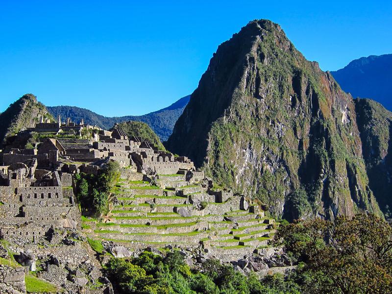 Morning sun hitting Macchu Picchu