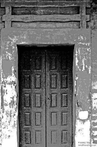 Doorway San Juan Capistrano Mission B&W