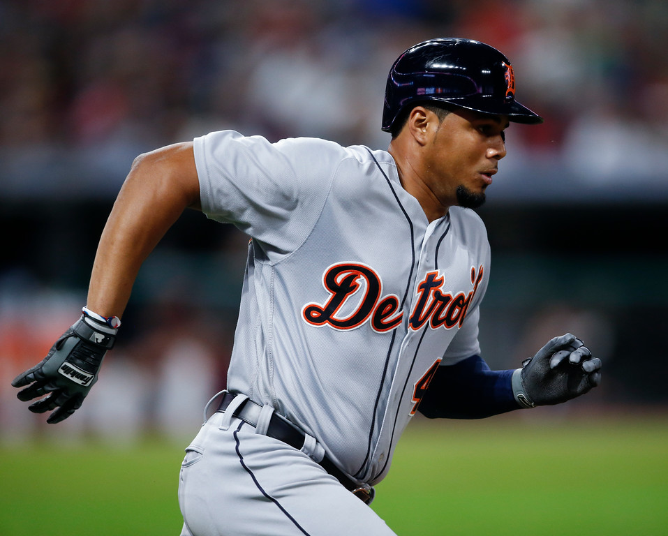 . Detroit Tigers\' Jeimer Candelario runs out a one run double off Cleveland Indians\' Andrew Miller during the seventh inning of a baseball game, Friday, Sept. 14, 2018, in Cleveland. (AP Photo/Ron Schwane)