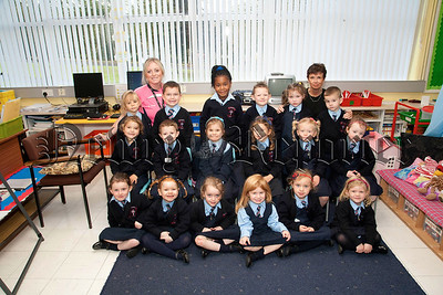 Teacher Miss Eimer Cranney,Classroom AssistantMiss Caroline Park and P1 pupils St Malachy's PS Carnagat Newry
