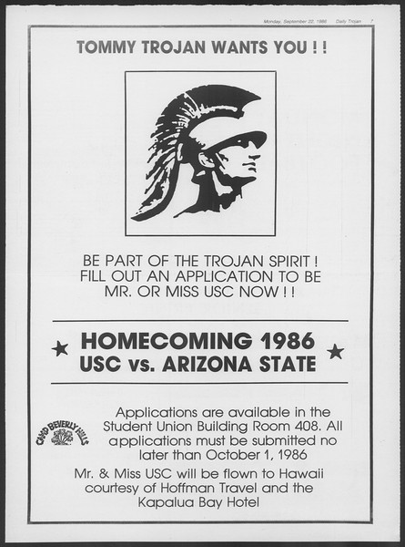 Daily Trojan, Vol. 102, No. 15, September 22, 1986