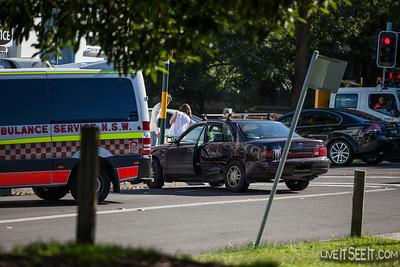 Car vs Car vs Wall Accident - Pitt St Waterloo