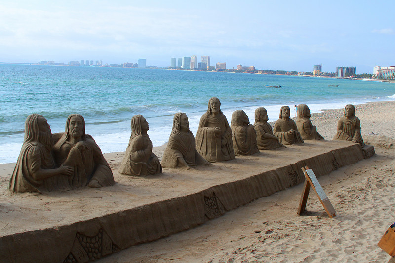 Sand sculptures at Puerta Vallarta's downtown beach.