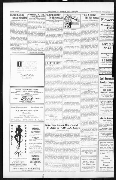 Daily Trojan, Vol. 16, No. 56, February 25, 1925