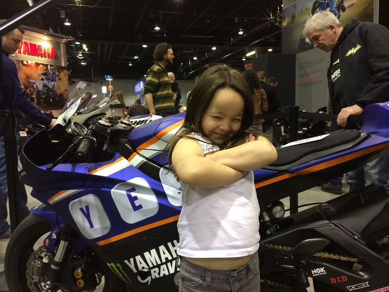 Keira with Josh Herrin Championship winning bike. The Yamaha guys wouldn't let her sit on it.. It's almost as if they didn't know what a star she is.