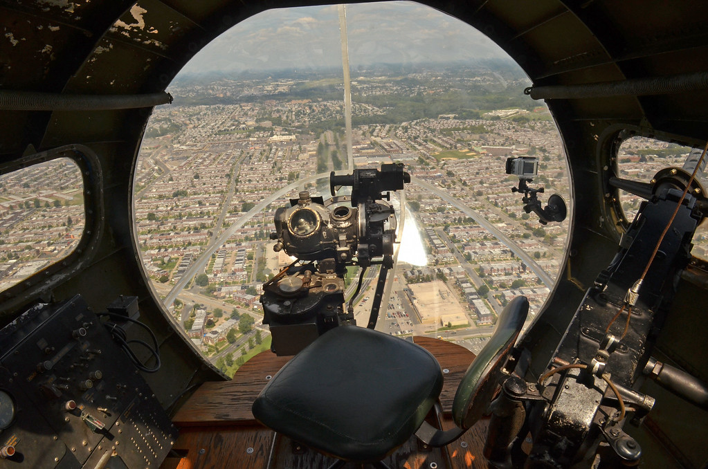 . An in-flight view of the bombardier\'s station on the Memphis Belle.   (The Reporter/Geoff Patton)