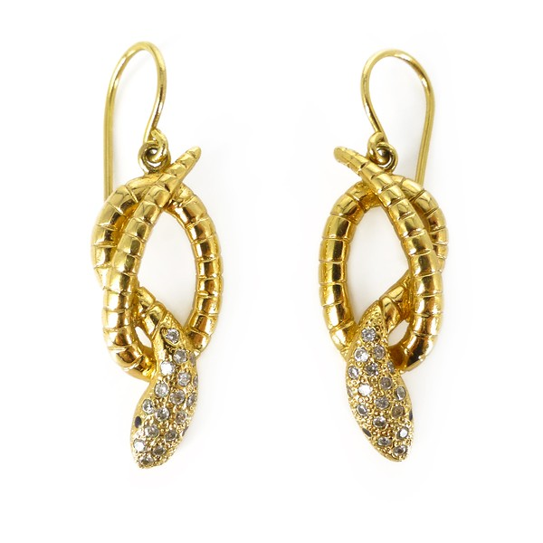 Vintage Gold Plated Serpent Snake Statement Rhinestone Earrings