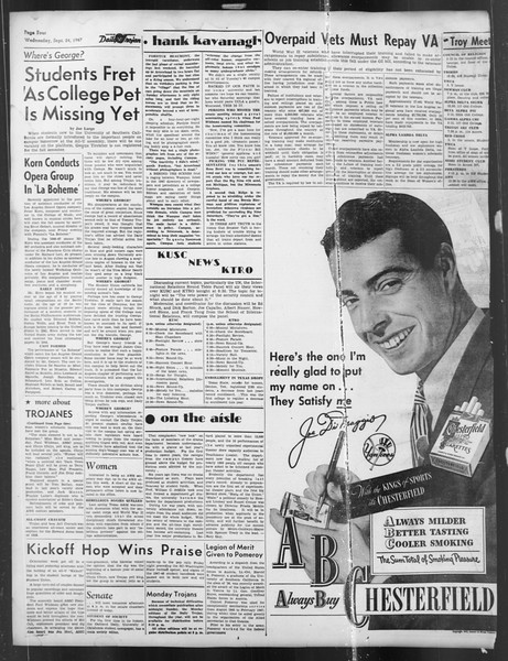 Daily Trojan, Vol. 39, No. 8, September 24, 1947