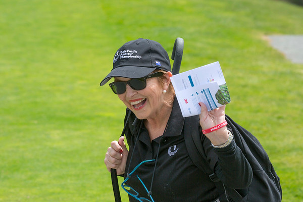 Volunteer walking scorer Pam Spry on the 2nd day of competition  in the Asia-Pacific Amateur Championship tournament 2017 held at Royal Wellington Golf Club, in Heretaunga, Upper Hutt, New Zealand from 26 - 29 October 2017. Copyright John Mathews 2017.   www.megasportmedia.co.nz